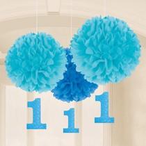 1. narozeniny závěsné dekorace modré 3 ks