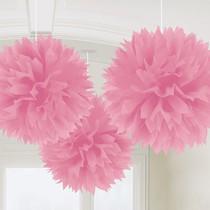 Závěsné dekorace světle růžové 3 ks 40 cm