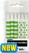 Svíčky zeleno-bílé 12ks