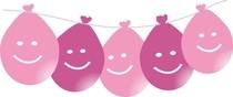 Balonky smajlík visící LED svítící 5ks mix růžové