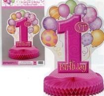 1. narozeniny dekorace na stůl růžová 35,5cm