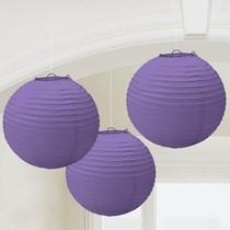 Lampiony fialové 3 ks 24 cm