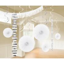 Závěsné dekorace bílé 18 ks