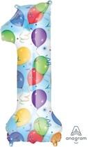 Balónky fóliové narozeniny číslo 1 motiv balónky 86cm