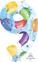 Balónky fóliové narozeniny číslo 9 motiv balónky 86cm