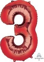Balónky fóliové narozeniny číslo 3 červené 86cm
