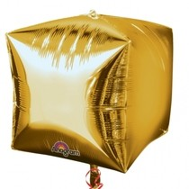 Foliový balónek kostka zlatá 38 cm