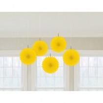 Závěsné dekorace žluté 5 ks 15,2 cm