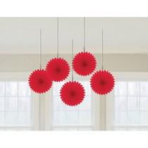 Závěsné dekorace červené 5 ks 15,2 cm