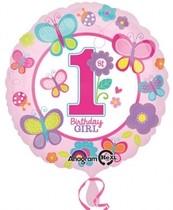 Balónek 1. narozeniny holka 43 cm