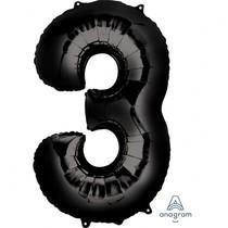 Balónek foliový narozeniny číslo 3 černý 86 cm