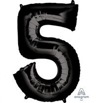 Balónek foliový narozeniny číslo 5 černý 86 cm