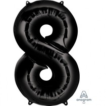 Balónek foliový narozeniny číslo 8 černý 86 cm