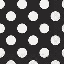 Ubrousky černo - bílé tečky 16ks