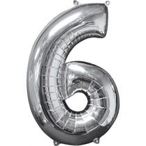 Balónek fóliový narozeniny číslo 6 stříbrný 66cm