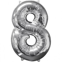 Balónek fóliový narozeniny číslo 8 stříbrný 66cm