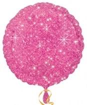 Balónek kulatý růžový - hvězdy 43cm