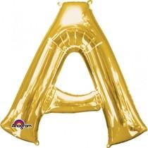 Písmena A zlaté foliové balónky 83 cm x 93 cm