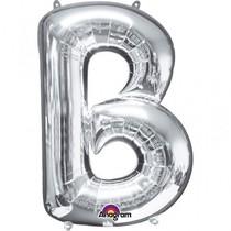 Písmena B stříbrné foliové balónky 83 cm x 58 cm