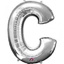 Písmena C stříbrné foliové balónky 81 cm x 63 cm