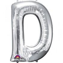 Písmena D stříbrné foliové balónky 83 cm x 60 cm