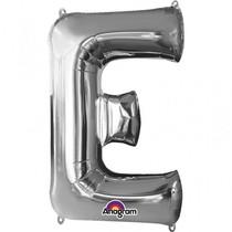 Písmena E stříbrné foliové balónky 81 cm x 53 cm