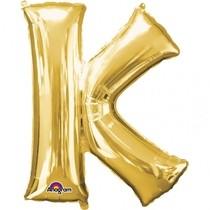 Písmena K zlaté foliové balónky 83 cm x 66 cm