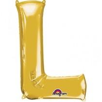 Písmena L zlaté foliové balónky 81 cm x 53 cm