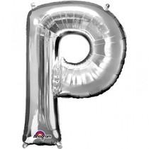 Písmena P stříbrné foliové balónky 81 cm x 60 cm