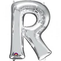 Písmena R stříbrné foliové balónky 81 cm x 58 cm