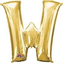 Písmena W zlaté foliové balónky 83 cm x 71 cm