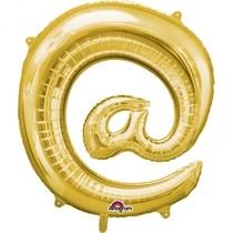 Symbol @ zlaté foliové balónky 81 cm x 76 cm