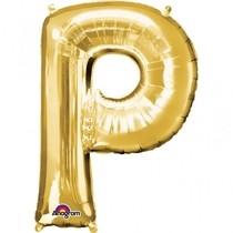 Písmena P zlaté foliové balónky 33 cm x 22 cm