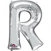Písmena R stříbrné foliové balónky 33 cm x 22 cm