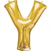 Písmena Y zlaté foliové balónky 35 cm x 27 cm
