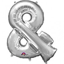Symbol & stříbrné foliové balónky 35 cm x 27 cm