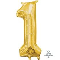 Balónek foliový narozeniny číslo 1 zlatý 35cm x 15cm