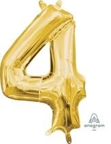Balónek foliový narozeniny číslo 4 zlatý 35cm x 22cm