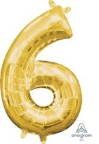 Balónek foliový narozeniny číslo 6 zlatý 35cm x 20cm