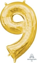 Balónek foliový narozeniny číslo 9 zlatý 35cm x 20cm