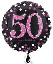 Balónek foliový 50. narozeniny Pink 43 cm