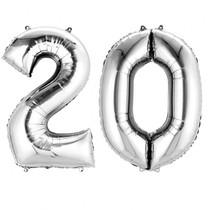Balónky fóliové narozeniny číslo 20 stříbrné 86cm