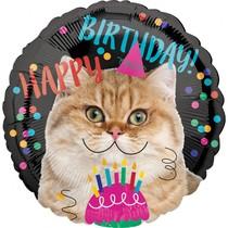 Kočka šťastné narozeniny balónek 43 cm