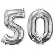 Balónky fóliové narozeniny číslo 50 stříbrna 66 cm