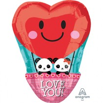 Balónek srdíčko a pandy Love You 43 cm x 33 cm