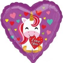 Balónek foliový srdíčko jednorožec Love You 43 cm