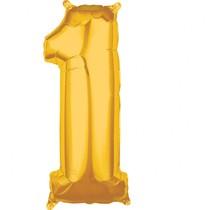 Balónek fóliový narozeniny číslo 1 zlatý 66cm