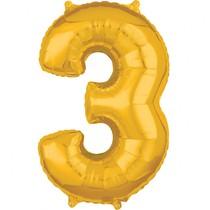 Balónek fóliový narozeniny číslo 3 zlatý 66cm