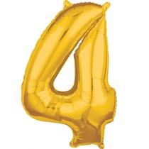 Balónek fóliový narozeniny číslo 4 zlatý 66cm