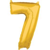 Balónek fóliový narozeniny číslo 7 zlatý 66cm